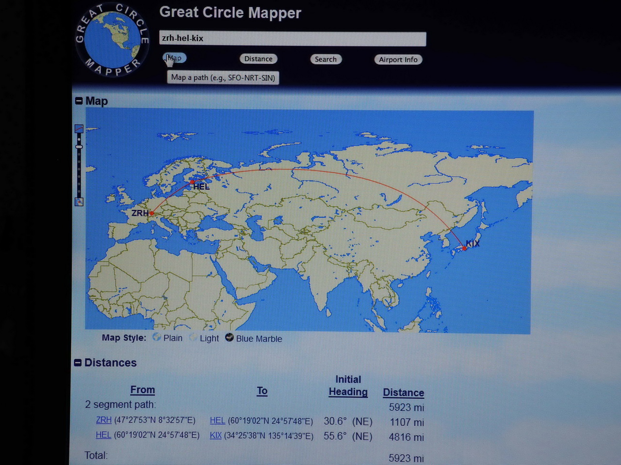 The great circle mapper / http://www.gcmap.com/